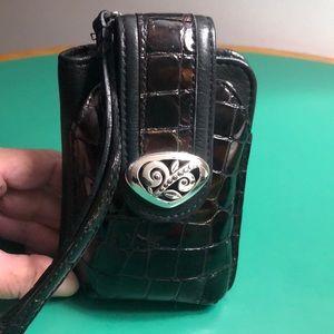 Brighton Brown & Black Leather Wristlet